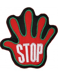 PALM HAND SHAPED STOP SIGN SKATE BOARD PATCH #12