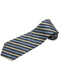 STRIPES TIE CREAM & BLUE WOVEN NOVELTY NECKTIE #30