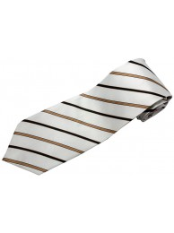 STRIPES TIE WHITE BROWN WOVEN NOVELTY NECKTIE #53
