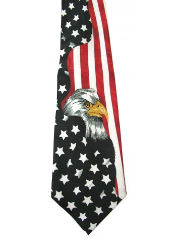 USA FLAG AND EAGLE TIE NOVELTY NECKTIE #01